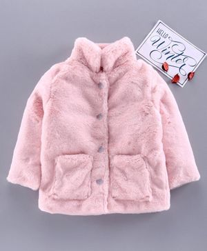 M'andy Faux Fur Full Sleeves Buttoned Jacket - Pink