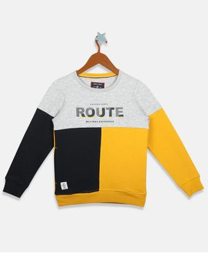 MONTE CARLO Full Sleeves Route Printed Sweatshirt - Yellow & Navy Blue