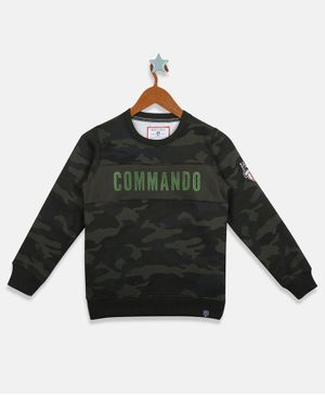 Monte Carlo Full Sleeves Commando Patch Sweatshirt - Olive