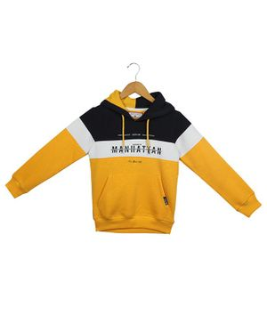Monte Carlo Full Sleeves Colour Block Pattern Hoodie - Yellow
