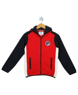 Monte Carlo Full Sleeves Badge Patch Hooded Jacket - Red & Navy Blue
