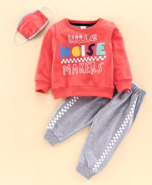 Ojos Full Sleeves Tee and Lounge Pant Set with Mask - Orange