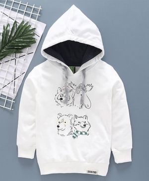 Spark Full Sleeves Hooded Tee Bird Patch - White