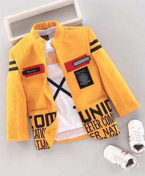 Dapper Dudes Full Sleeves Printed Blazer With Tee - Yellow