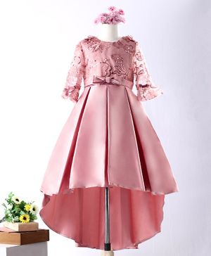 Mark & Mia Full Sleeves Party High Low Frock Sequin Embroidered - Pink