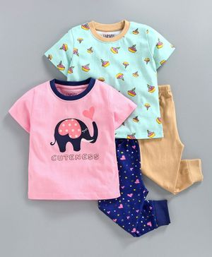 Bumzee Half Sleeves Baby Elephant Print Pack Of 2 Tee & 2 Bottom Set - Pink & Blue