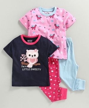 Bumzee Half Sleeves Owl Print Pack Of 2 Tee & 2 Bottom Set - Pink & Blue