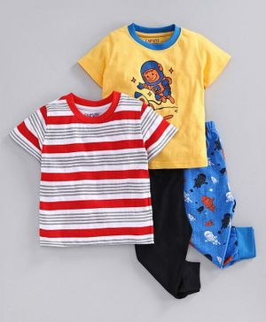 Bumzee Half Sleeves Astronaut Print Pack Of 2 Tee & 2 Bottom Set - Yellow & Red