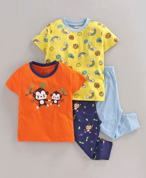 Bumzee Pack Of 2 Full Sleeves Monkey & Unicorn Printed Tee & Bottoms Set - Orange & Yellow