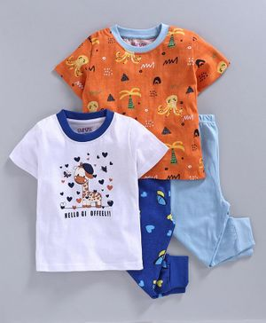 Bumzee Half Sleeves Baby Giraffe Print Pack Of 2 Tee & 2 Bottom Set - White & Orange