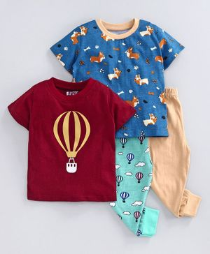 Bumzee Half Sleeves Hot Air Balloon Print Pack Of 2 Tee & 2 Bottom Set - Navy & Maroon
