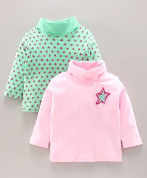 Tambourine Star Print Full Sleeves Pack Of 2 Tee - Pink & Green