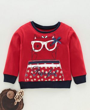 Tambourine Cat Print Full Sleeves Sweatshirt - Red