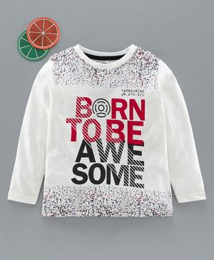 Tambourine Born To Be Awesome Print Full Sleeves Tee - Off White