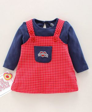 Tambourine Full Sleeves Tee With Checked Dungaree Dress - Red