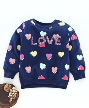 Tambourine Love Print Full Sleeves Sweatshirt - Navy