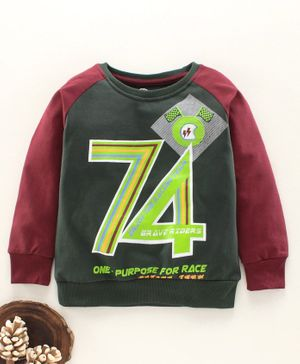 Tambourine Number Print Full Sleeves Sweatshirt - Deep Green