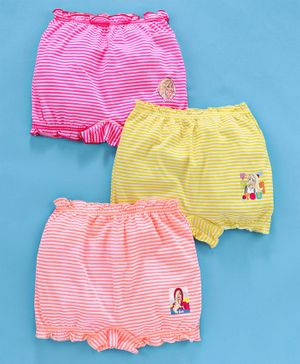 Red Rose Cotton Striped Bloomer Barbie Print Pack of 3 - Pink Yellow Orange