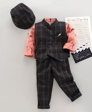 Dapper Dudes Full Sleeves Printed Party Suit With Cap & Bow - Black & Peach