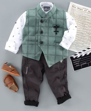 Dapper Dudes Full Sleeves Printed Shirt With Waistcoat & Bottom - Green
