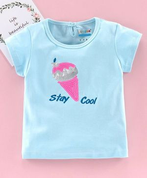 Bumzee Reversible Sequin Ice Cream Short Sleeves Top - Blue