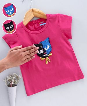 Bumzee Cap Sleeves Reversible Sequined Cat Patch Top - Pink