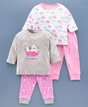 Bumzee Full Sleeves Baby Elephant Print Pack Of 2 Tee & 2 Bottom Set - Pink & Grey