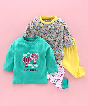 Bumzee Full Sleeves Pack Of Two Heart & Dino Print Tee With Two Pajamas - Multi Color