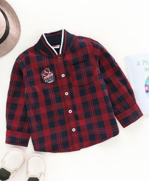 Babyhug Full Sleeves Checks Shirt Football Patch - Red Navy