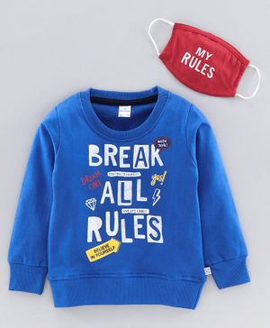 Niomoda Full Sleeves T-Shirt Break All Rules Print - Royal Blue