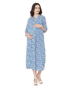 MOM'S BEE Three Fourth Sleeves Flower Print Maternity Dress - Blue
