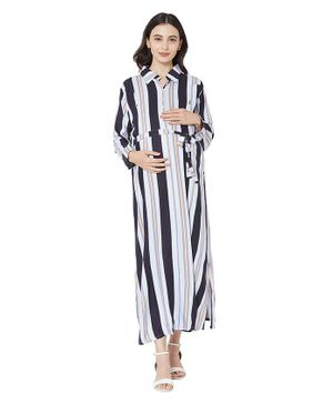 MOM'S BEE Full Sleeves Striped Maternity Dress - Lavender