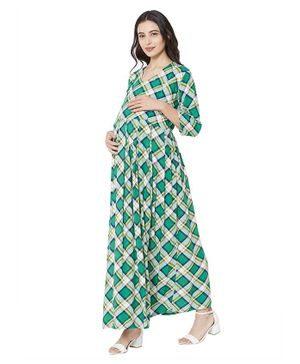 MOM'S BEE Full Sleeves Checked Maternity Dress - Green
