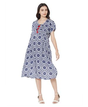MOM'S BEE Half Sleeves Flower Print Maternity Dress - Blue