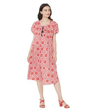 MOM'S BEE Half Sleeves Flower Print Maternity Dress - Red