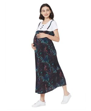 MOM'S BEE Half Sleeves Flower Print Maternity Dress - Black