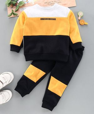 ToffyHouse Full Sleeves Winter Wear T-Shirt & Bottomwear Set - Yellow Black