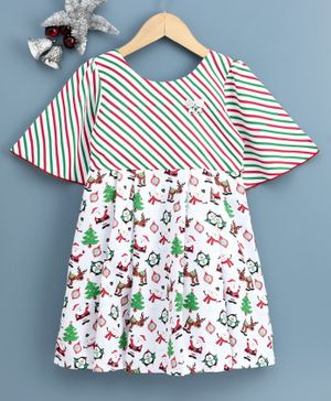 Twetoons Sleeveless Frock Christmas Print - White