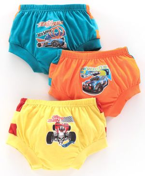 Red Rose Briefs Hot Wheels Print Pack of 3 - Blue Yellow  Orange