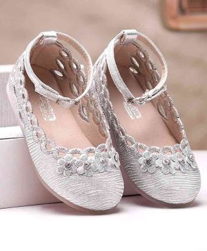 Cute Walk by Babyhug Party Wear Belly Shoes Floral Appliques - Silver