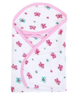 Tinycare Hooded Bath Towel Butterfly Print - Pink