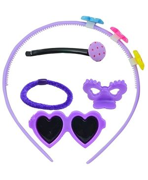 Angel Glitter Hair Accessories Combo of 5 - Purple Hearts
