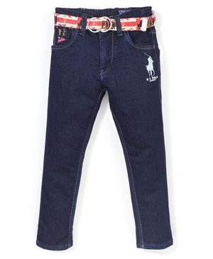 New York Polo Academy Jeans With Belt - Dark Blue
