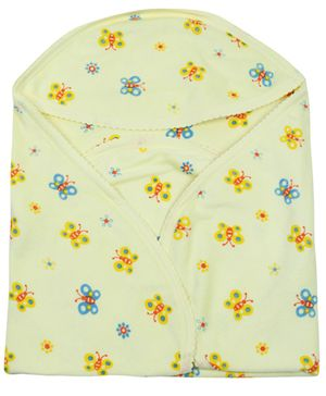 Tinycare Hooded Baby Towel Yellow - Butterfly Print