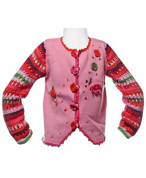 Crochet Sleeves Sweater With Ebroidery
