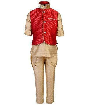 Little Bull Ethnic Kurta Pajama Jacket Set - Red And Golden