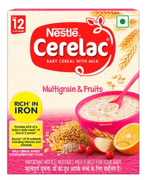 Nestle Cerelac Fortified Baby Cereal With Milk Multi Grain & Fruits - 300 gm Bib Pack