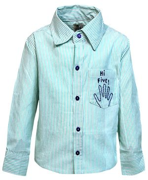 A Little Fable Full Sleeves Shirt Hi Five Embroidery - Sea Green