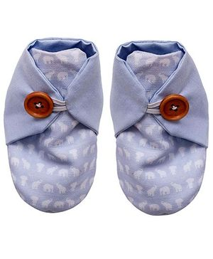 Bootie Patootie Elephant High Top Booties - Blue