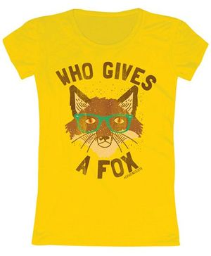 Toddler Tee Caption Print Who Gives A Fox - Yellow